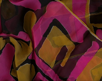 Vintage Abstract Silk Scarf Chiffon pink black gold