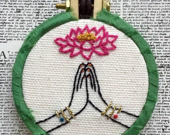 Namaste Hand Embroidered Mini Hoop Art Necklace