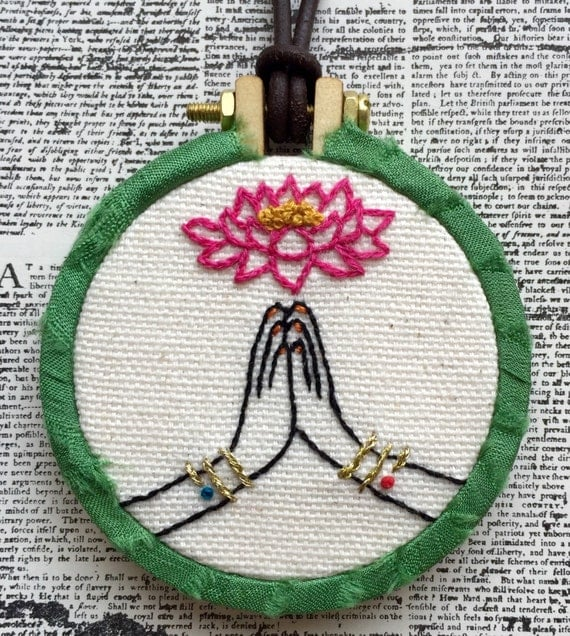 Namaste Hand Embroidered Mini Hoop Art Necklace, India, Lotus, Whimsical, Hand Embroidered
