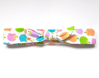 Colorful Hedgehogs Jersey Knit Knotted Bow Headband/Headwrap Baby or Toddler Size