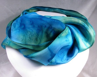 Hand Painted Silk Scarf - Quintessence Silk - Turquoise Sea, blue green - South Pacific