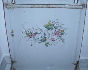 Antique French Country Graniteware Enamelware Utensil Tray with Bird and Flowers, Wall Hanging