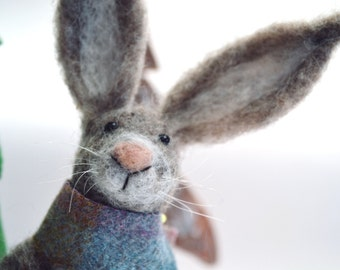 Needle Felted Animal , Scottish Hare , Needle Felted Hare , miniature animal , Home decor ,  Waldorf