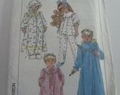 UNCUT Simplicity 8943 Girls Nightgown Pajamas Robe & Hat Size Large (5-6) Vintage 1980s Sewing Pattern