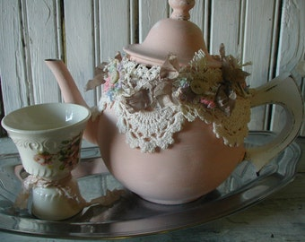 Vintage Tea Pot Re-purposed Shabby Chic Decor Pink Cream Salvaged Materials Buttons Lace Hand Dyed Ribbon Handmade Flowers