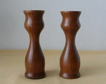 Pair of Solid Wood Candlesticks