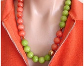 RESERVED FOR CS: Ashira Lime Green and Tangerine Orange Jade, 24k Gold Vermeil Nuggets, Vermeil Hammered Ball