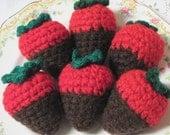 Crochet Chocolate Covered Strawberries - Half Dozen