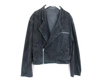 90's Stonewash Motorcycle Denim Cropped Zippered Jacket size - XL