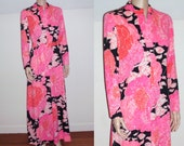 60's 70's mod maxi dress psychedelic maxi dress gown hot pink orange mod party dress S/M