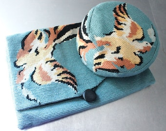 Purse and pill box hat needlepoint Bird of Paradise brown black slate blue gorgeous set 1950's clutch Wedgewood blue lined bag pheasant bird