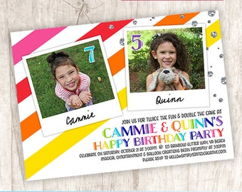 Rainbow Combined Birthday Party Photo Invitation, Joint Birthday Invite, Sisters Dual Party, Colorful - DiY Printable || Rainbow Glitter