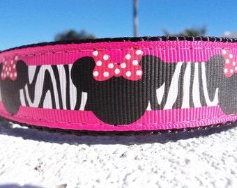 "Sale Dog Collar Wild Minnie Dark Pink 1"" Side Release buckle or Martingale collar style adjustable"