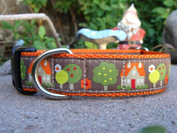 """Sale Dog Collar Country Cottage 1"""" wide adjustable side release /  no martingale limited ribbon"""
