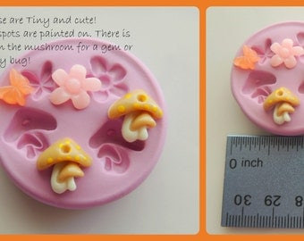 Tiny Fairy Garden Cabochon Mold Butterfly Mushroom Flower Fairy Moulds Resin Clay Silicone Mold