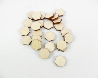 25 Hexagons 9mm Stud Earrings Unfinished Wood Laser Cut Tiles Shapes Pendant Jewelry Making