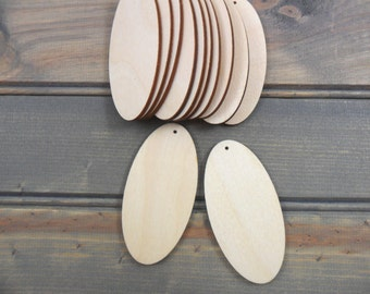 "25 Wood Ovals Earring Pendant 3"" H x 1 1/2"" W x 1/8"" Laser Cut Jewelry Making Shapes with Hole"