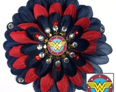 Wonder Woman Navy and Red Penny Blossom Rhinestone Flower Barrette