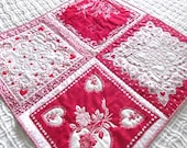 Four Vintage Valentine Hankies Quilted Table Topper Red and White Delight by Sweet Tooth Quilts One of a Kind