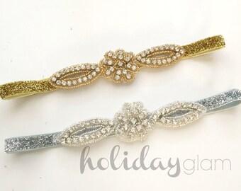 Sparkle Headband, Crystal Headband, Gold Baby Headband, Glitter Headband, Silver Headband, Baby Headband, Holiday Headband