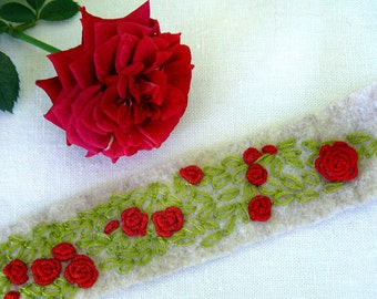 Red Roses Hand Embroidered Felt Cuff Bracelet