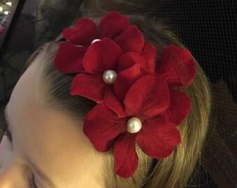 Red maroon burgundy hydrangea hair headband