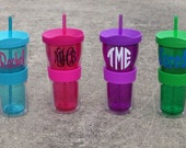 Personalized Tumbler with straw - Assorted Colors