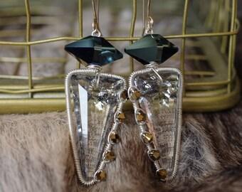 Geometry is Fun - Swarovski crystal earrings wirewrapped sterling silver