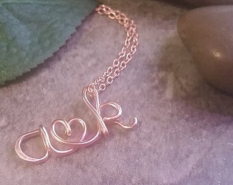14K Rose Gold Filled I Heart U Pendant, valentines, two lovers, customized two initial and heart necklace