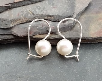 Swarovski Pearl Earrings with Sterling Silver Kidney Wire Earrings, Choose your Color