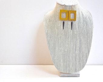 Yellow Wood Earrings, Geometric, Modern Retro Chandelier Drop Earrings with Black Beads and Silver Hooks