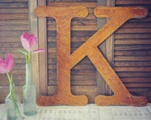 18 INCH tall Rusty Metal Letter A - Z & 1 2 3 by Junk Love and Co
