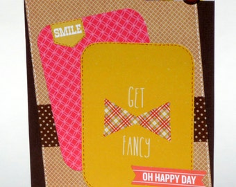 Happy Birthday Card for Him - Bowtie Birthday - Handmade Paper Card