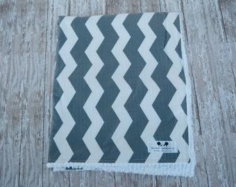 large chenille blanket gray chevron designer baby blanket - Chenille Blanket