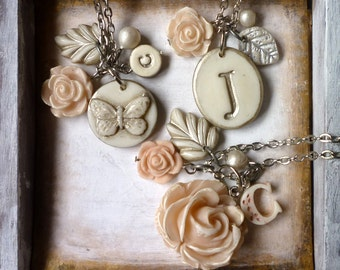 Winter Wedding Bridal Party Gifts - Winter Wedding - Cream silver and nude- Bridesmaids jewelry  - Maid of honor gift