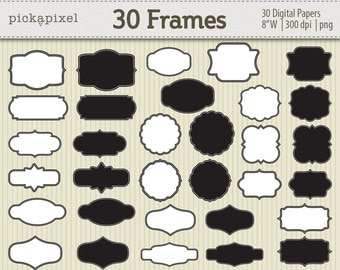 50% off SALE - Digital Frames Black White Clipart Kit for digital scrapbooking, frame, tag, lable, stationery Personal and Commercial Use