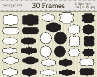 Digital Frames Black White Clipart Kit for digital scrapbooking, frame, tag, lable, stationery Personal and Commercial Use