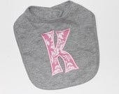 PERSONALIZED Heather Gray Baby Girl Bib with Appliqued Initial