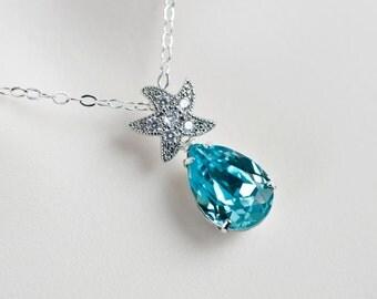 Starfish Necklace, Cubic Zirconia Starfish and Turquoise Swarovski Crystal Teardrop , Bridal Bridesmaids Necklace, Beach Wedding Necklace