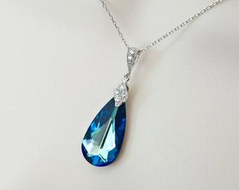 Bermuda Blue Swarovski Necklace, Bridesmaids Bermuda Blue Necklace, CZ and Swarovski Crystal Necklace, Beach Wedding, Wedding Destination