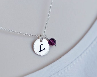 Birthstone Initial Necklace, Personalized Necklace, Swarovski Birthstone Charm and Initial Charm Necklace, Family, Mother,Grandmother Gift
