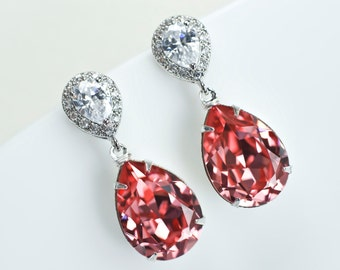 Bridal Earrings Bridesmaid Earrings Cubic Zirconia Ear Posts and Rose Peach Coral Swarovski Crystal Teardrops, Coral, Beach Theme Weddings