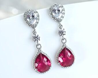 Ruby Earrings, Cubic Zirconia Ruby Teardrop Glass Earrings, Bridesmaids Earrings, Red Ruby FuchsiaTeardrop Dangle Earrings, Prom Earrings