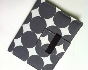 iPad Case, iPad Cover, iPad folding Stand  in modern gray and white dots
