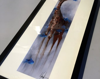 Giraffe and Fish Print - Framed
