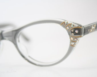 Unused Gray Rhinestone cat eye glasses vintage cateye eyeglasses frames