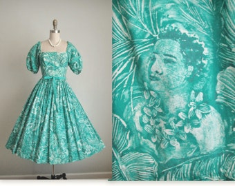 50's Kamehameha Dress // Vintage 1950's Kamehameha Novelty Savage Print Teal Hawaiian Cotton Dress