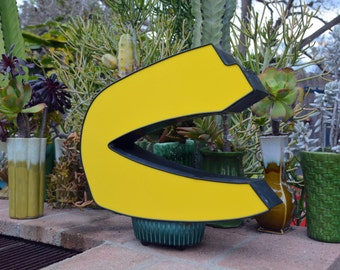 Vintage Marquee Sign Capital Letter 'C' or 'U': Large Yellow Wall Hanging Initial in Unusual Font -- Industrial Neon Channel Advertising
