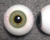 26mm and 24mm Realistic Blown Glass Eyes with Veins - 1 pair