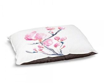 Designer Dog Bed  - Magnolia Floral Watercolor Painting - Fleece Cotton Cover